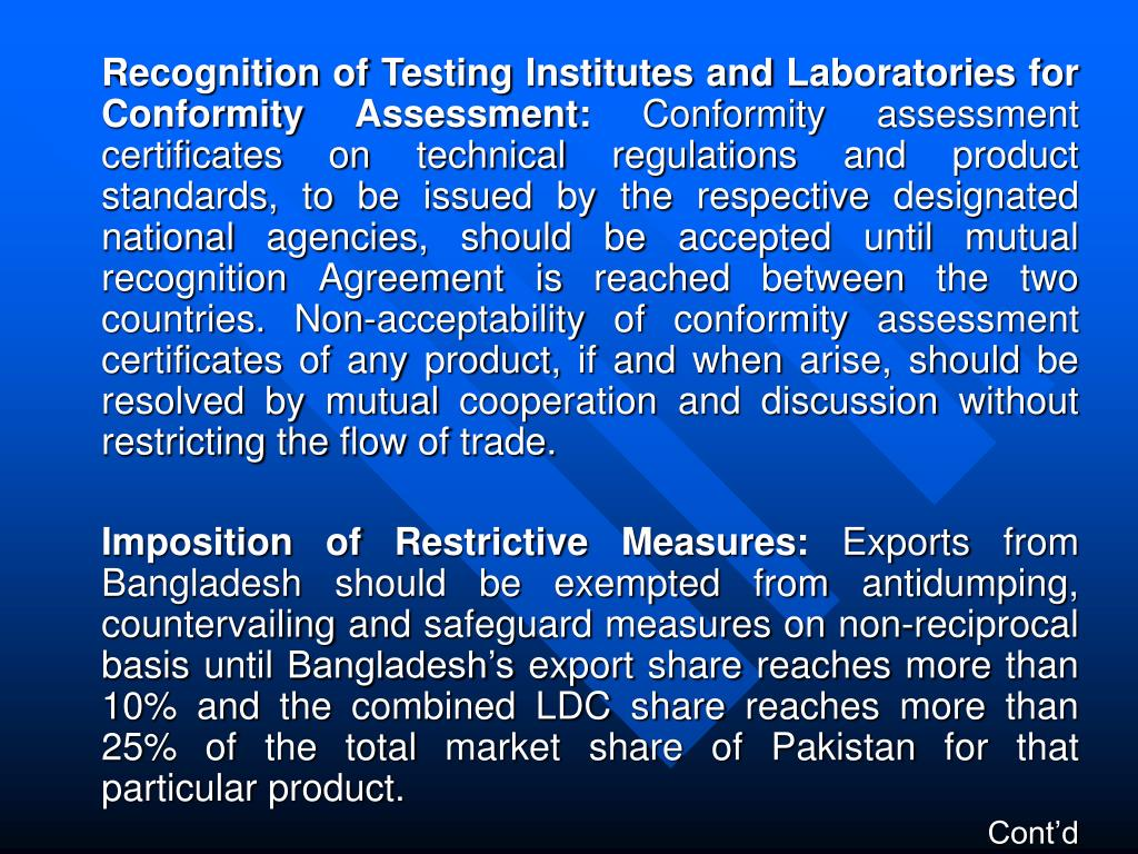 Recognition of Testing Institutes and Laboratories for Conformity Assessment: