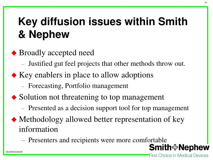 Key diffusion issues within Smith & Nephew