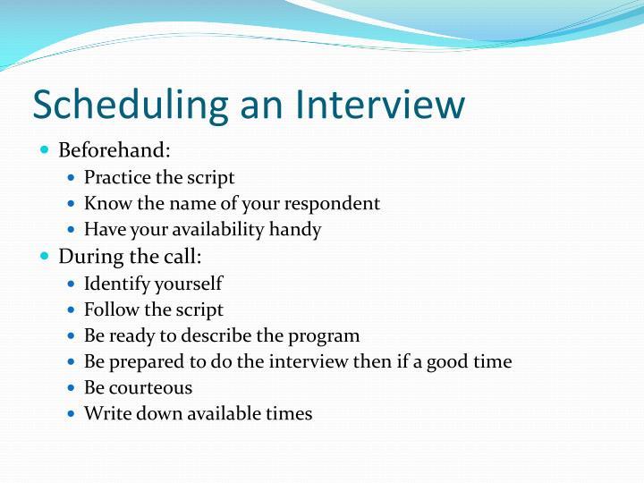 Scheduling an Interview