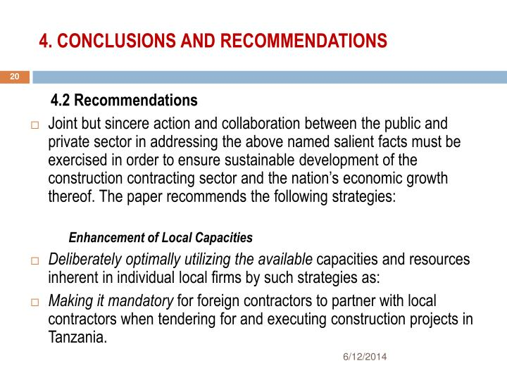 4. CONCLUSIONS AND RECOMMENDATIONS