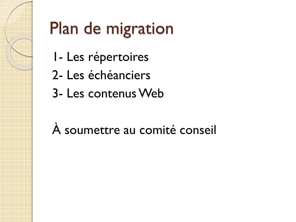 Plan de migration