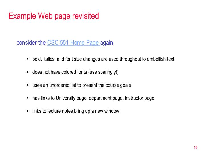 Example Web page revisited