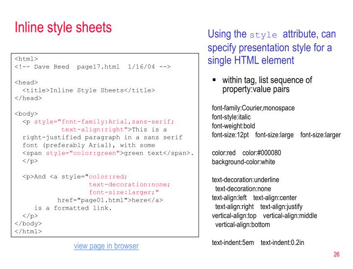 Inline style sheets