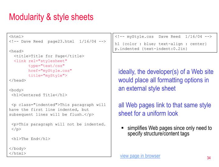 Modularity & style sheets