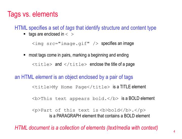 Tags vs. elements