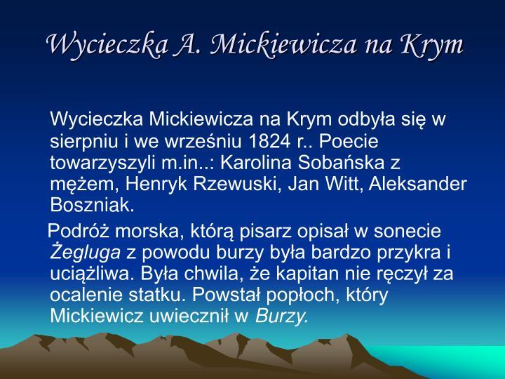 Wycieczka A. Mickiewicza na Krym