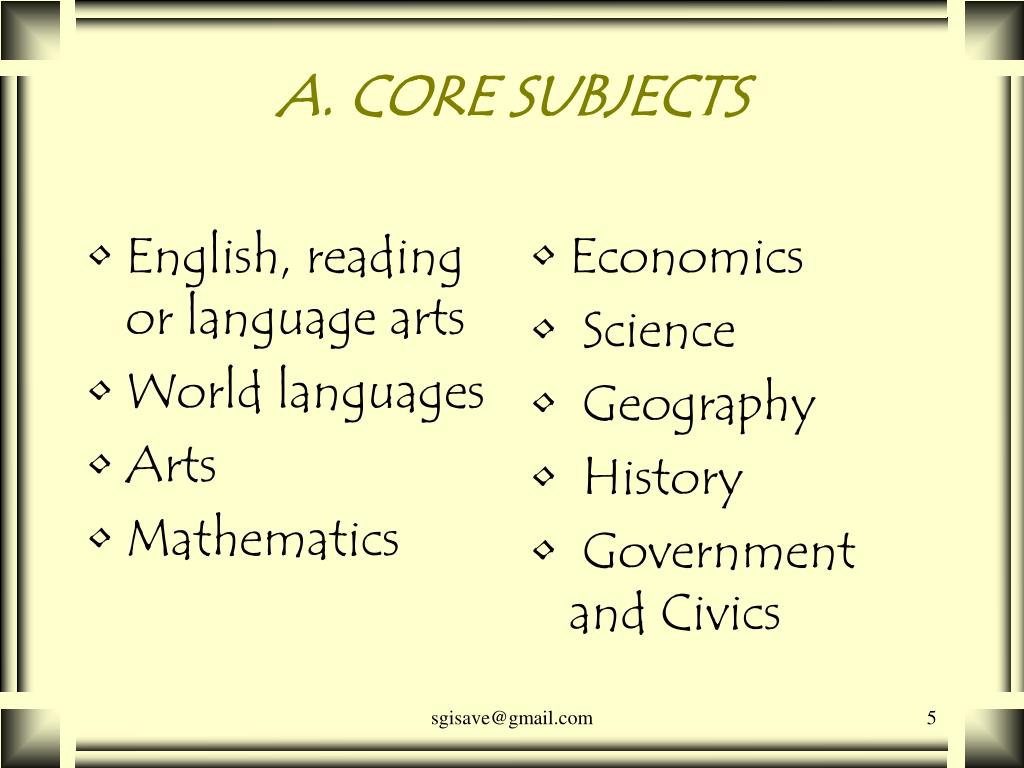 A. CORE SUBJECTS
