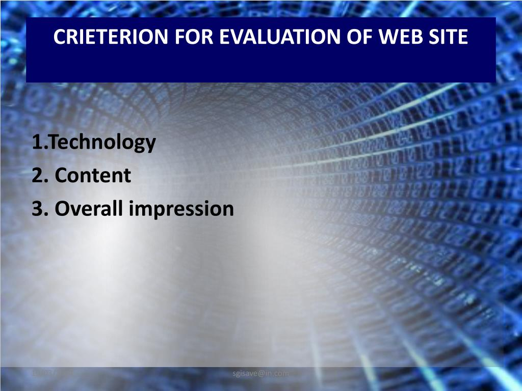 CRIETERION FOR EVALUATION OF WEB SITE