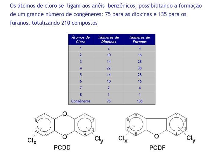 Os átomos de cloro se  ligam aos anéis  benzênicos, possibilitando a formação de um grande número de congêneres: 75 para as dioxinas e 135 para os furanos, totalizando 210 compostos
