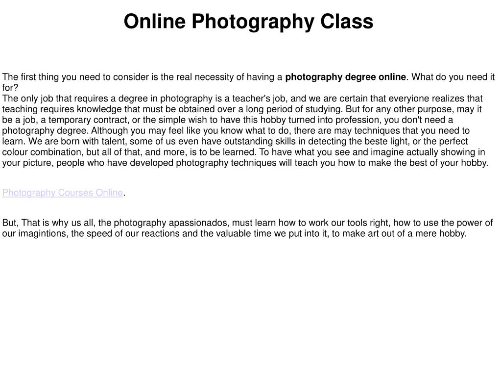 Online Photography Class