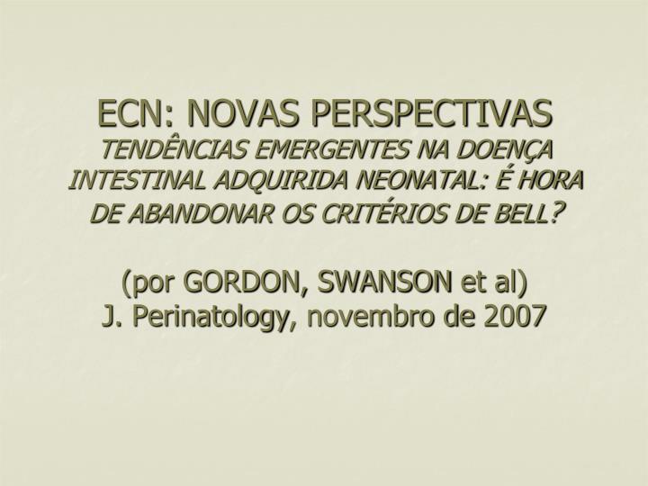 ECN: NOVAS PERSPECTIVAS