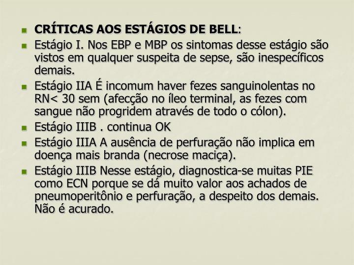 CRÍTICAS AOS ESTÁGIOS DE BELL