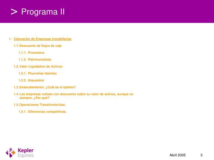 Programa II