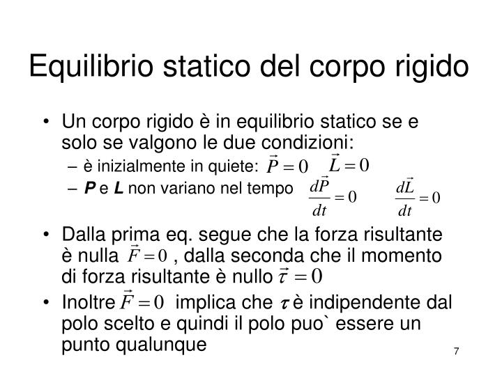 Equilibrio statico del corpo rigido