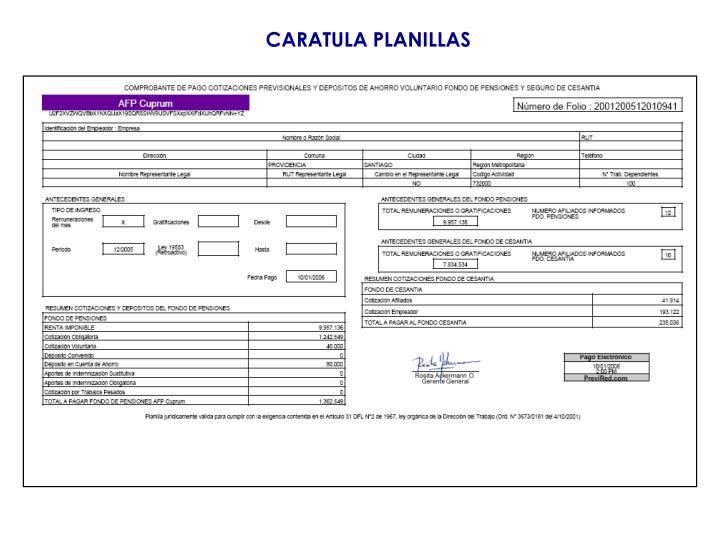 CARATULA PLANILLAS