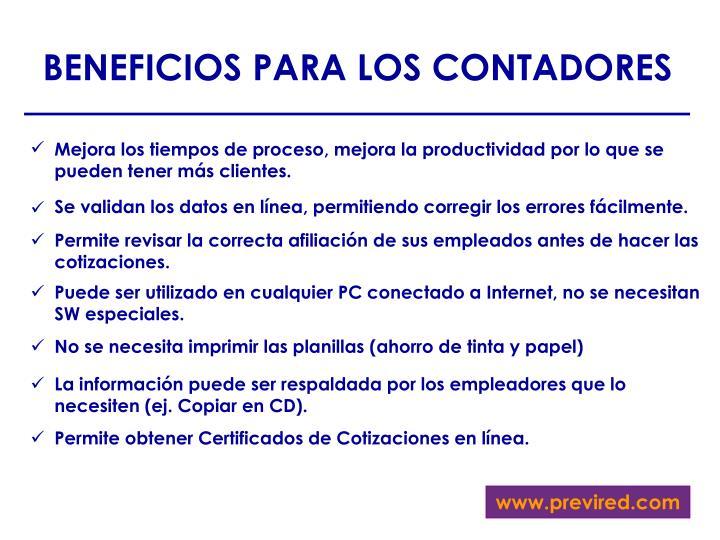 BENEFICIOS PARA LOS CONTADORES