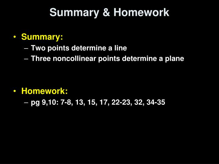 Summary & Homework
