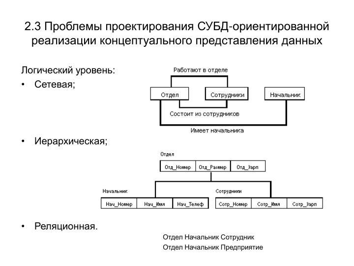 2.3 Проблемы проектирования СУБД-ориентированной реализации концептуального представления данных