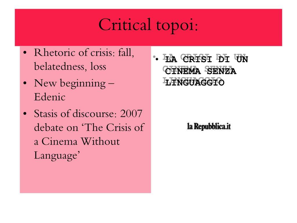 Critical topoi: