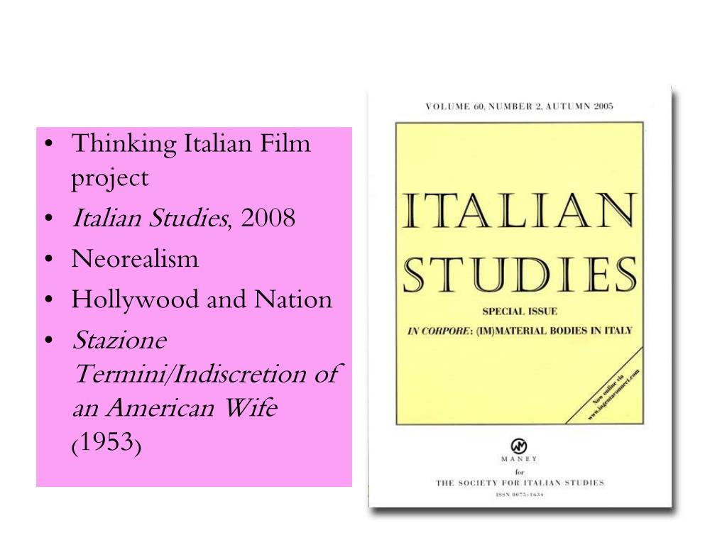Thinking Italian Film project