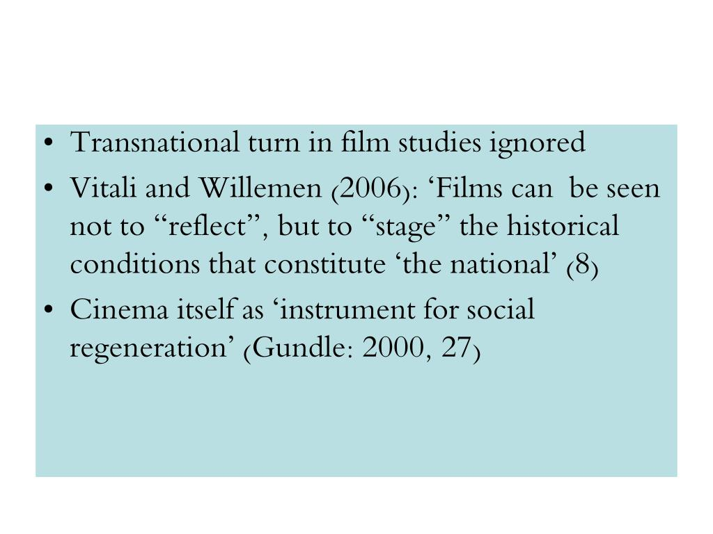 Transnational turn in film studies ignored