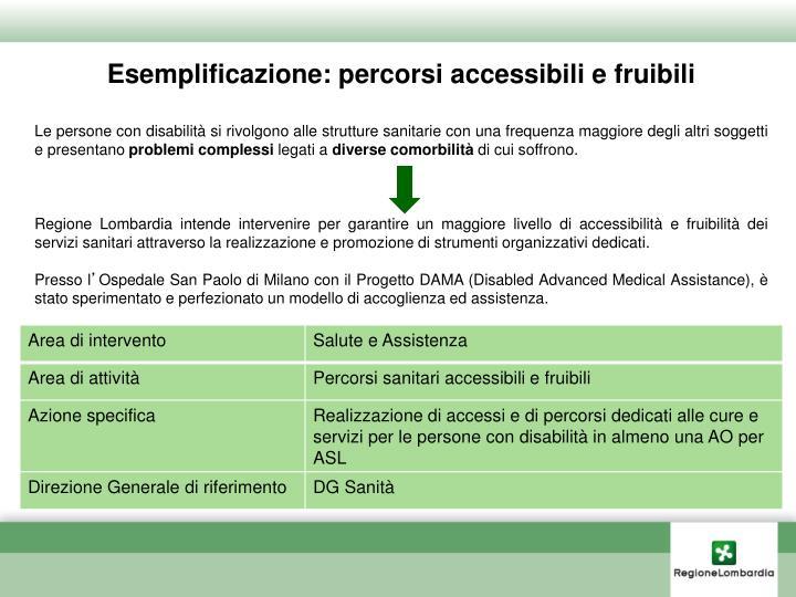 Esemplificazione: percorsi accessibili e fruibili