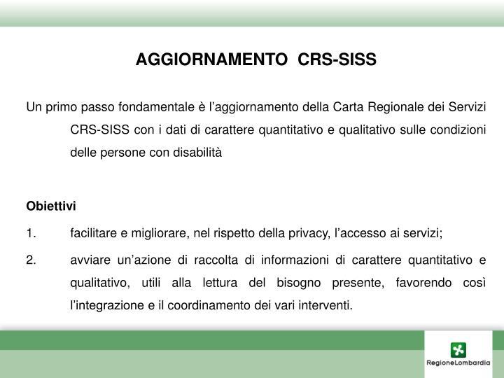 AGGIORNAMENTO  CRS-SISS