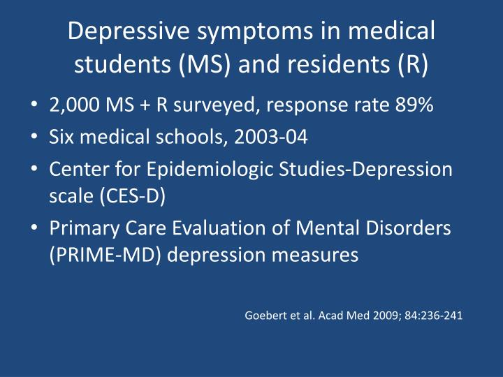 Depressive symptoms in medical students ms and residents r