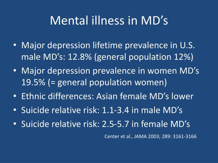 Mental illness in MD's