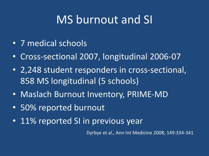 MS burnout and SI