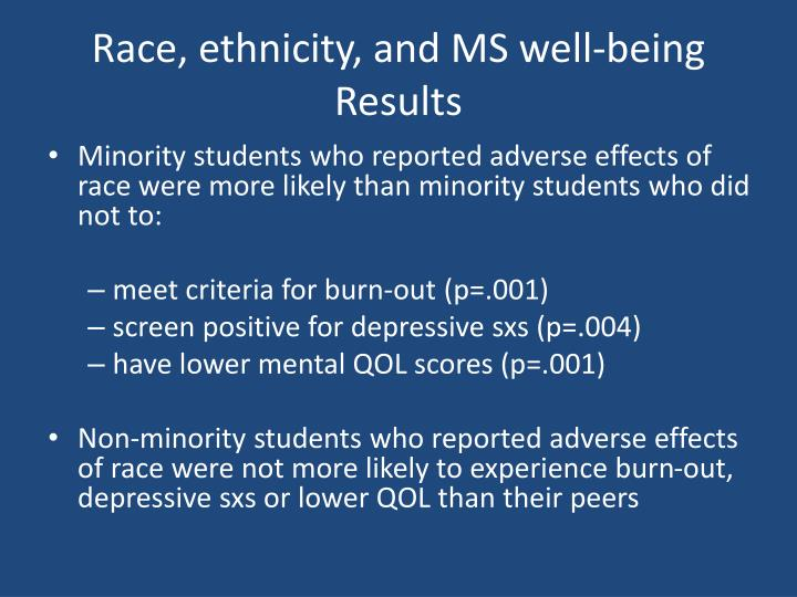 Race, ethnicity, and MS well-being