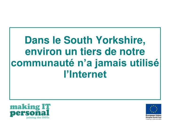 Dans le South Yorkshire, environ un tiers de notre communauté n'a jamais utilisé l'Internet