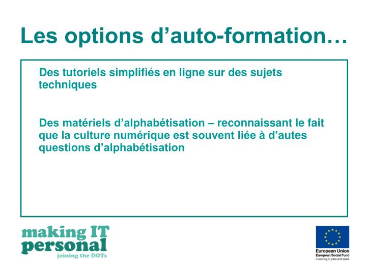 Les options d'auto-formation…