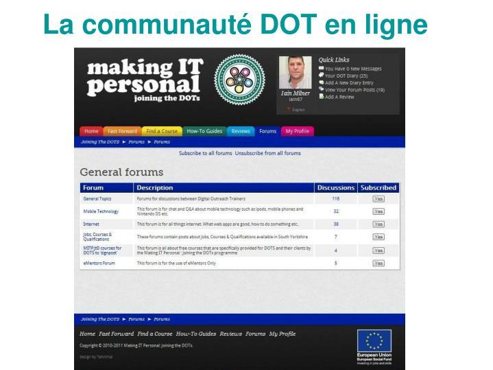 La communauté DOT en ligne