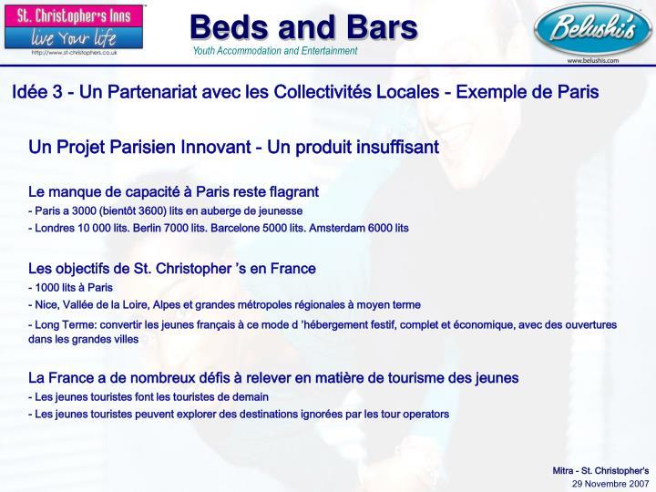 Idée 3 - Un Partenariat avec les Collectivités Locales - Exemple de Paris