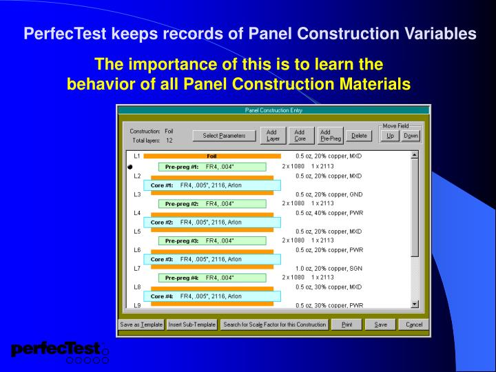 PerfecTest keeps records of Panel Construction Variables