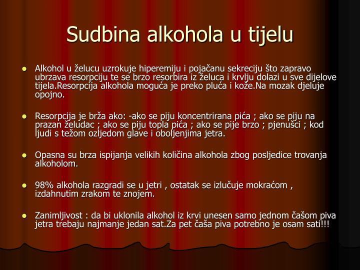 Sudbina alkohola u tijelu