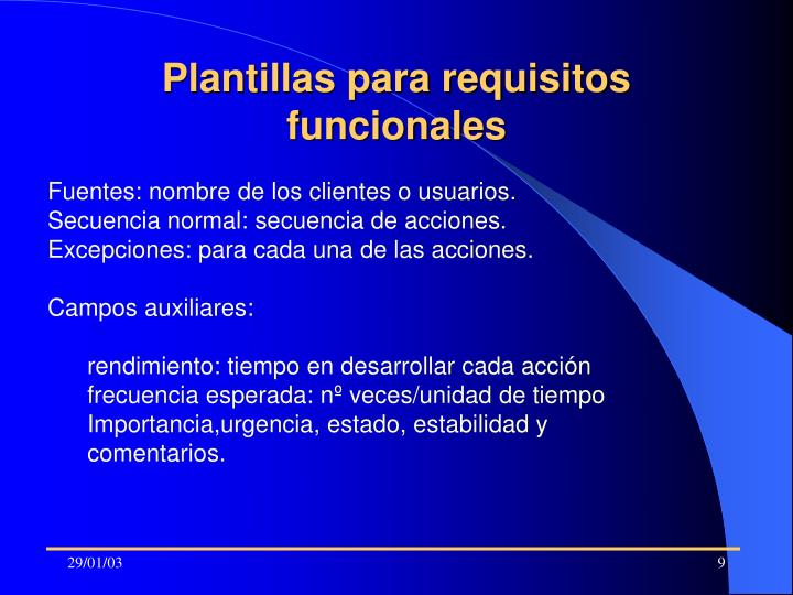 Plantillas para requisitos funcionales