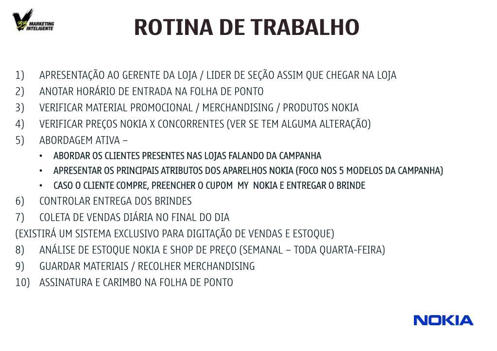 ROTINA DE TRABALHO