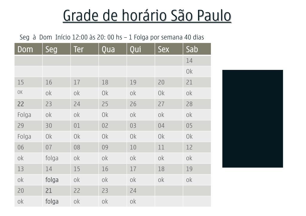 Grade de horário São Paulo