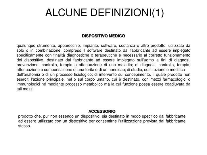 ALCUNE DEFINIZIONI(1)