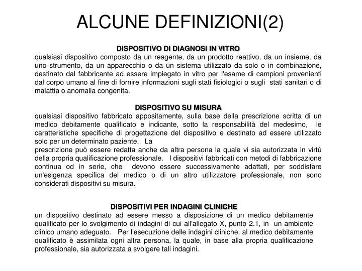 ALCUNE DEFINIZIONI(2)