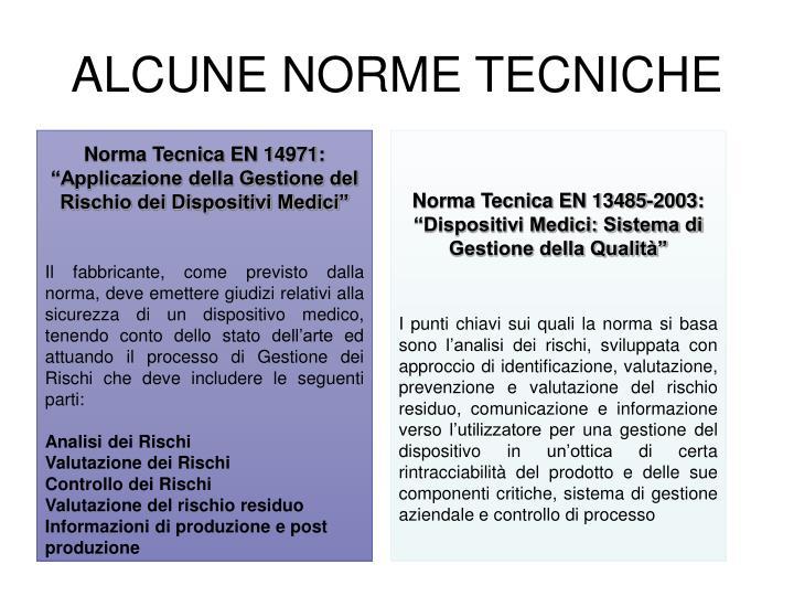 ALCUNE NORME TECNICHE