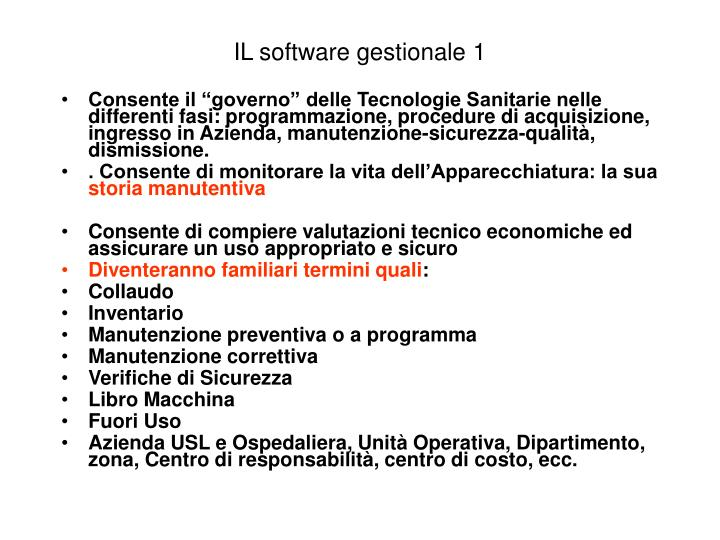 IL software gestionale 1