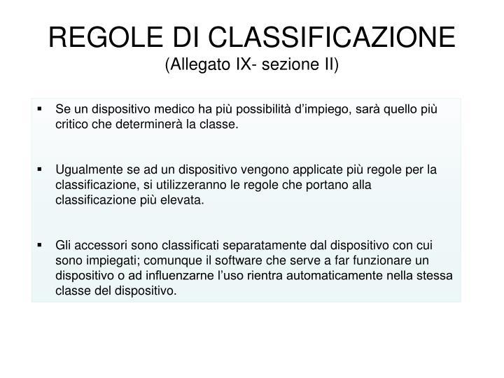 REGOLE DI CLASSIFICAZIONE