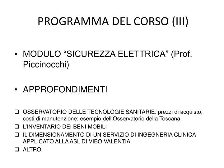 PROGRAMMA DEL CORSO (III)
