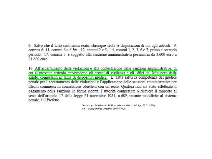 Decreto lgs. 24 febbraio 1997, n. 46 emendato col D. lgs. 25.01.2010,