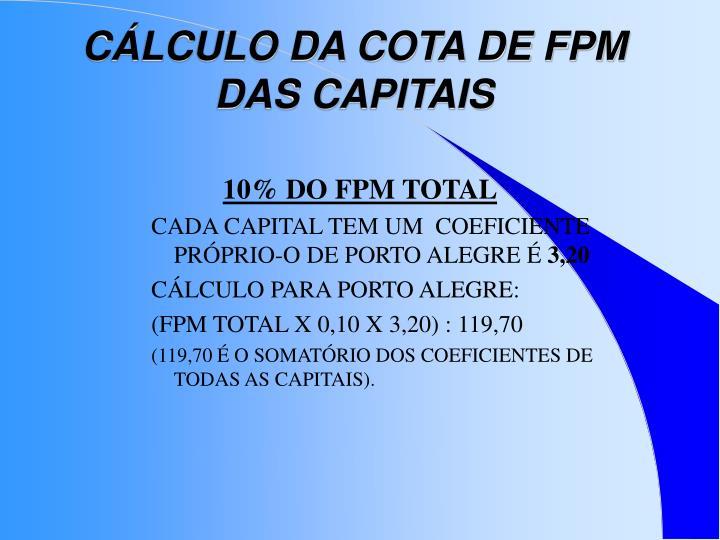 CÁLCULO DA COTA DE FPM DAS CAPITAIS