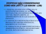 despesas n o consideradas como mde art 71 lei 9394 96 ldb