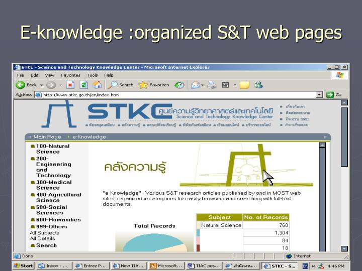 E-knowledge :organized S&T web pages
